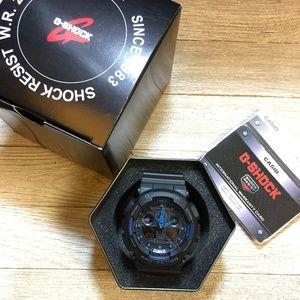Casio G Shock Black/Blue GA100 sports watch NEW!